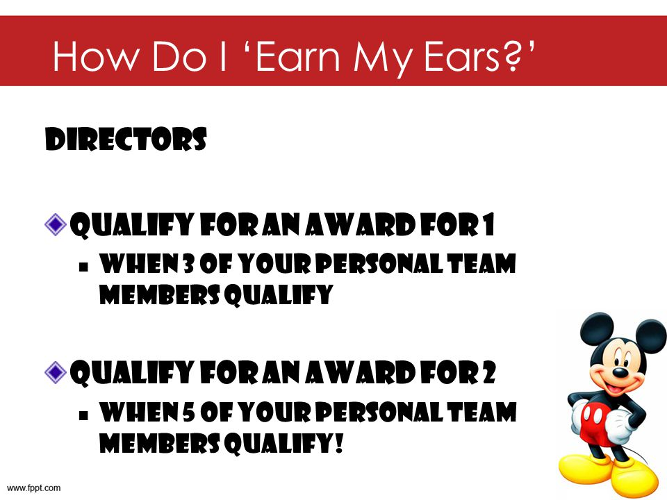 How Do I 'Earn My Ears ' Directors Qualify for an Award for 1