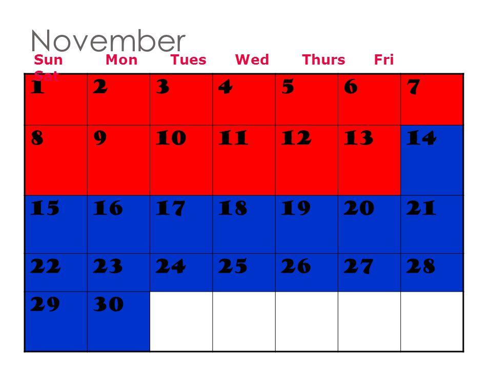 November Sun Mon Tues Wed Thurs Fri Sat. 1. 2. 3. 4. 5. 6.