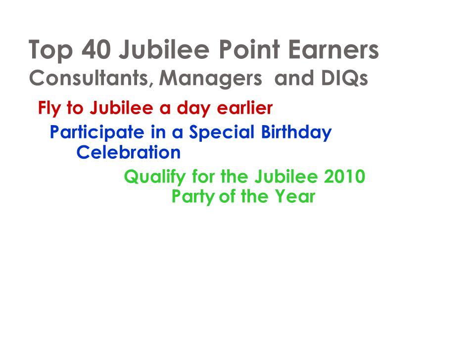 Top 40 Jubilee Point Earners Consultants, Managers and DIQs