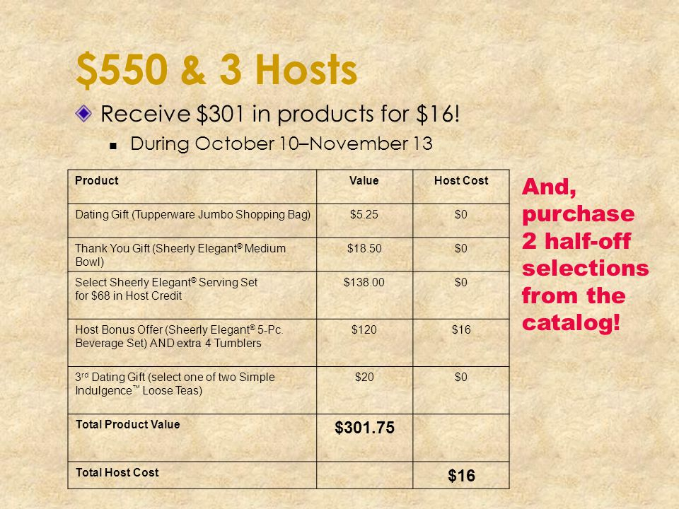 $550 & 3 Hosts Receive $301 in products for $16!