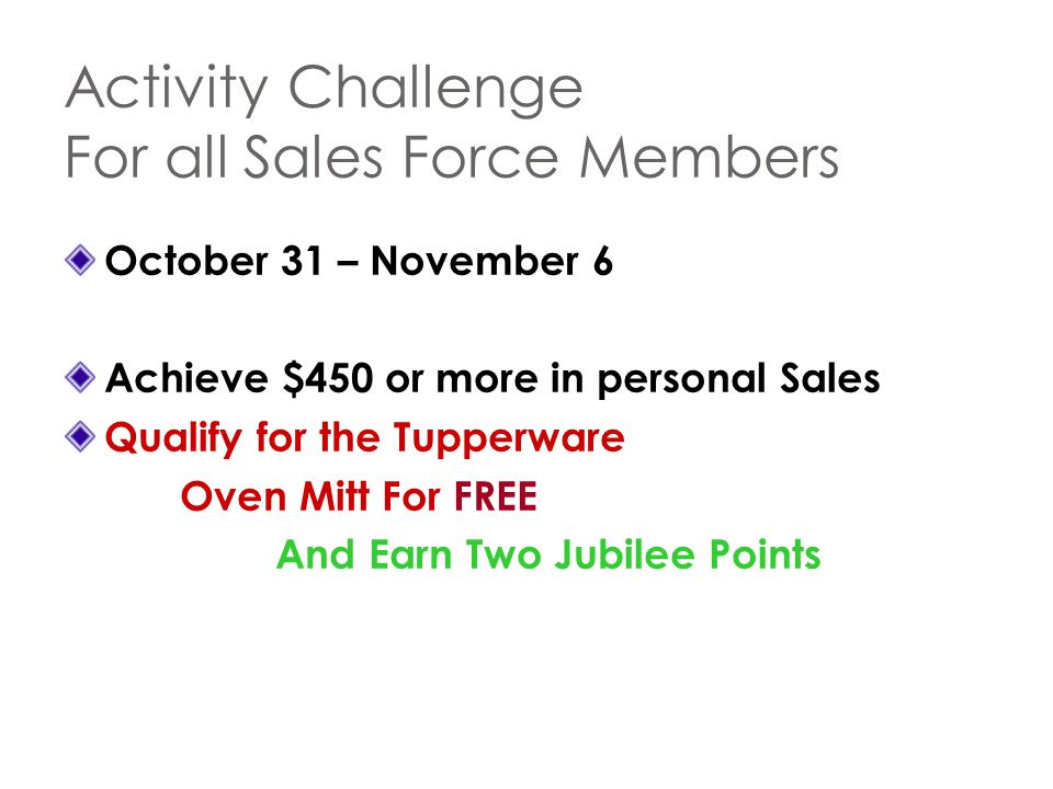 Activity Challenge For all Sales Force Members