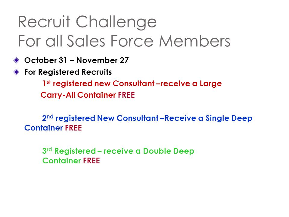 Recruit Challenge For all Sales Force Members