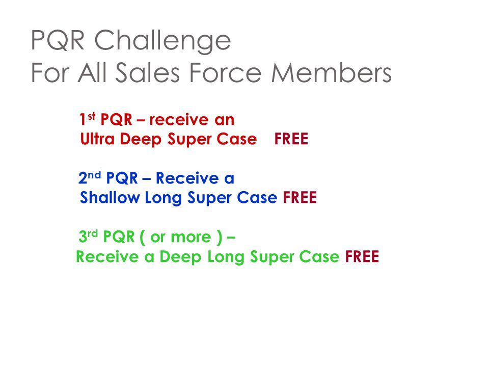 PQR Challenge For All Sales Force Members