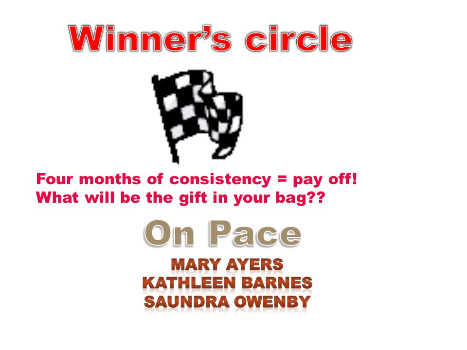 Winner's circle On Pace Four months of consistency = pay off!