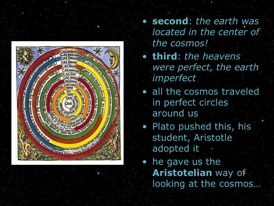 second: the earth was located in the center of the cosmos!