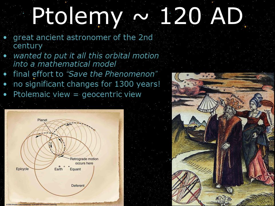Ptolemy ~ 120 AD great ancient astronomer of the 2nd century