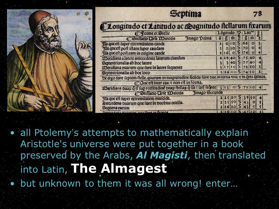 all Ptolemy's attempts to mathematically explain Aristotle s universe were put together in a book preserved by the Arabs, Al Magisti, then translated into Latin, The Almagest
