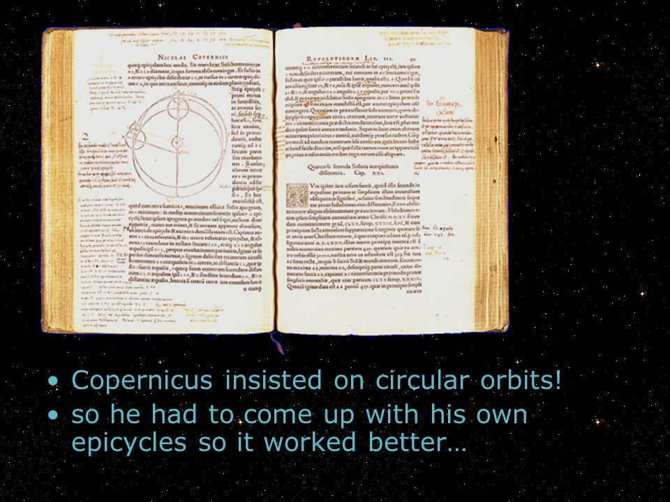 Copernicus insisted on circular orbits!