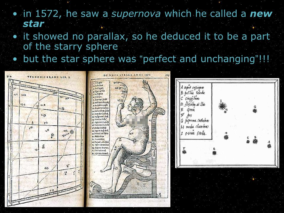 in 1572, he saw a supernova which he called a new star