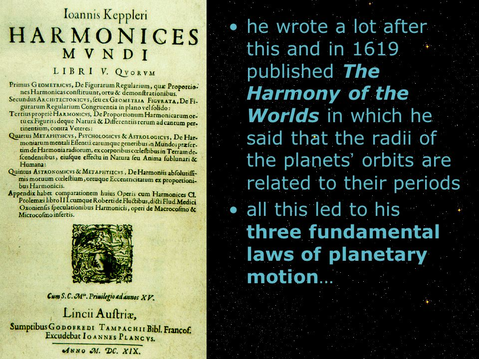 he wrote a lot after this and in 1619 published The Harmony of the Worlds in which he said that the radii of the planets' orbits are related to their periods