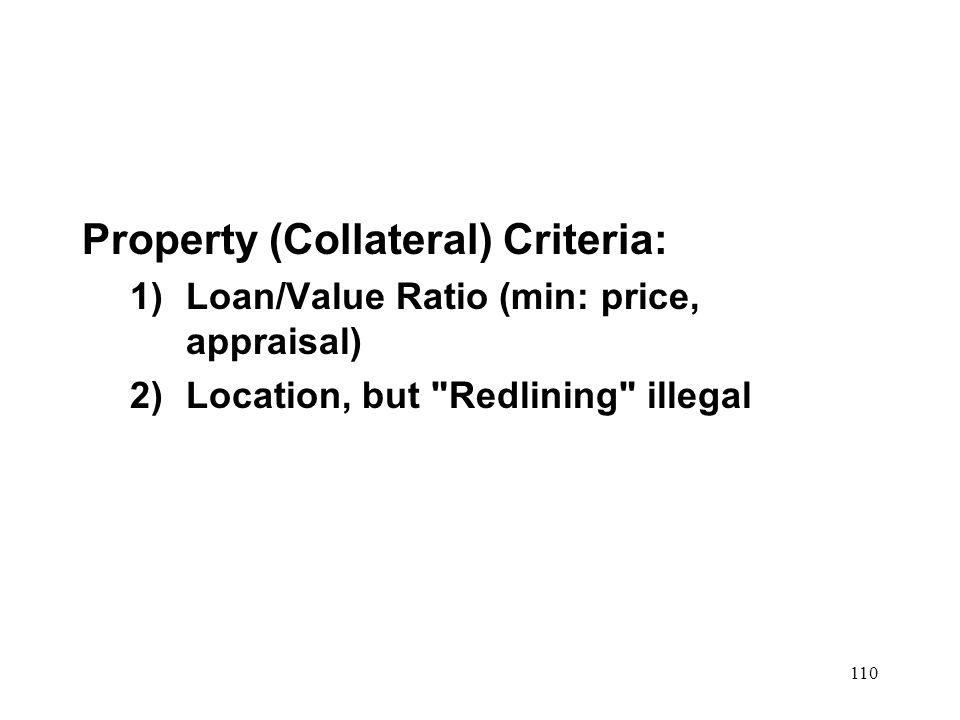 Property (Collateral) Criteria: