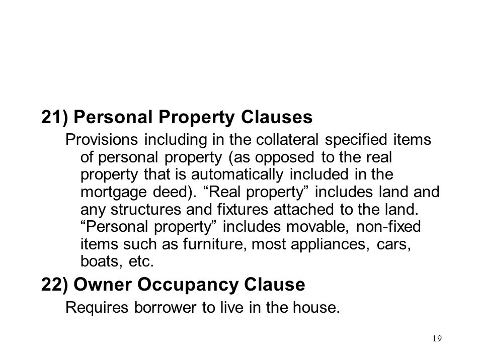21) Personal Property Clauses