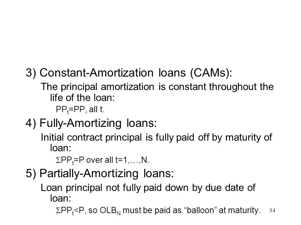 3) Constant-Amortization loans (CAMs):