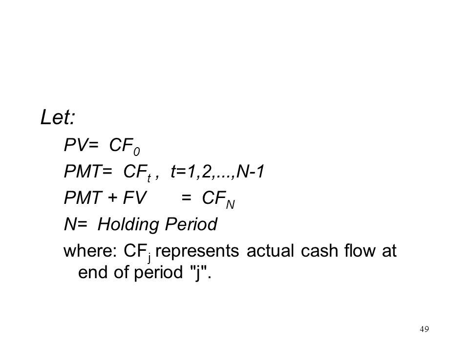 Let: PV= CF0 PMT= CFt , t=1,2,...,N-1 PMT + FV = CFN N= Holding Period