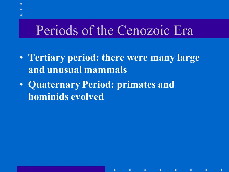 Periods of the Cenozoic Era