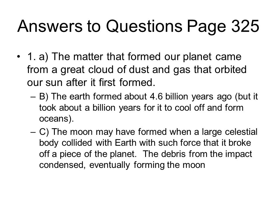 Answers to Questions Page 325