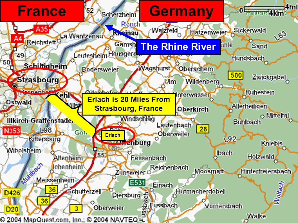 France Germany The Rhine River Erlach is 20 Miles From