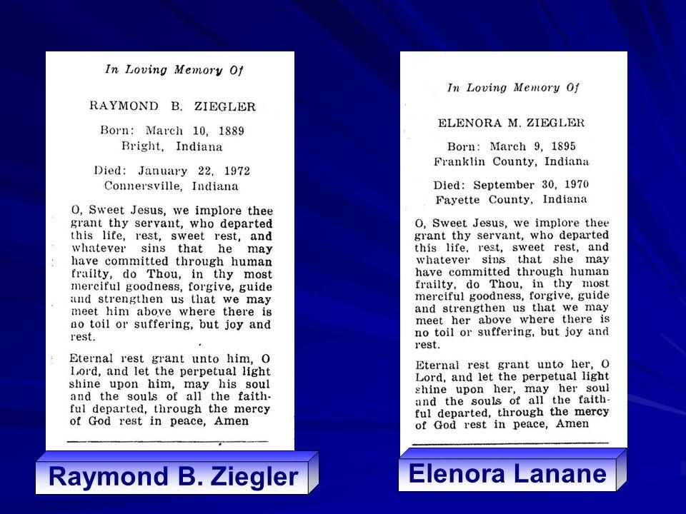Raymond B. Ziegler Elenora Lanane