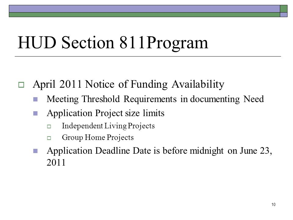 HUD Section 811Program April 2011 Notice of Funding Availability