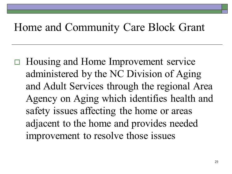 Home and Community Care Block Grant