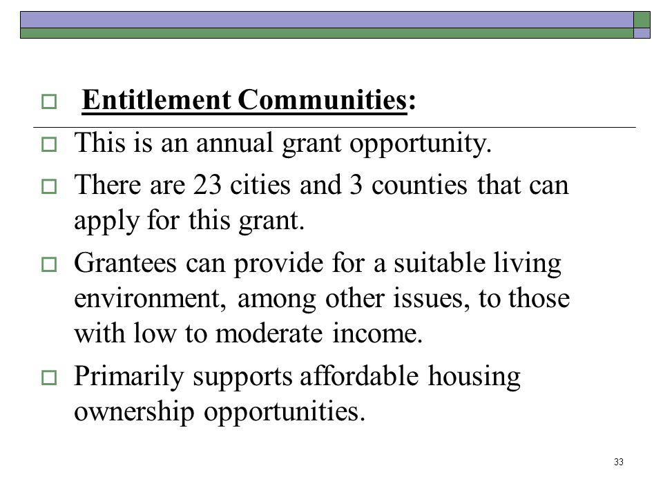 Entitlement Communities:
