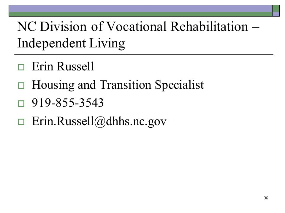 NC Division of Vocational Rehabilitation – Independent Living