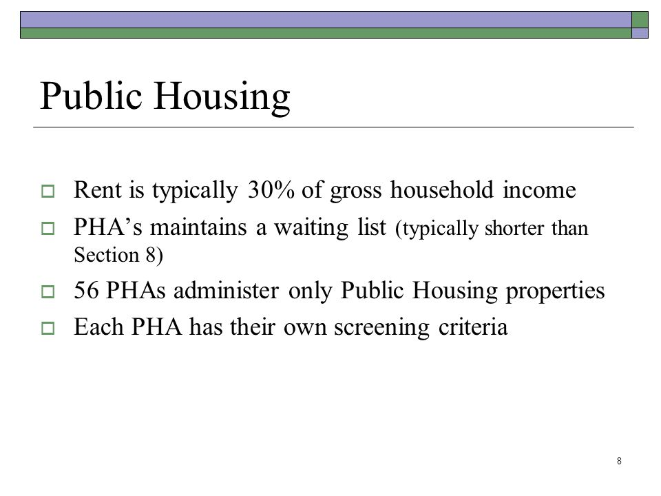 Public Housing Rent is typically 30% of gross household income