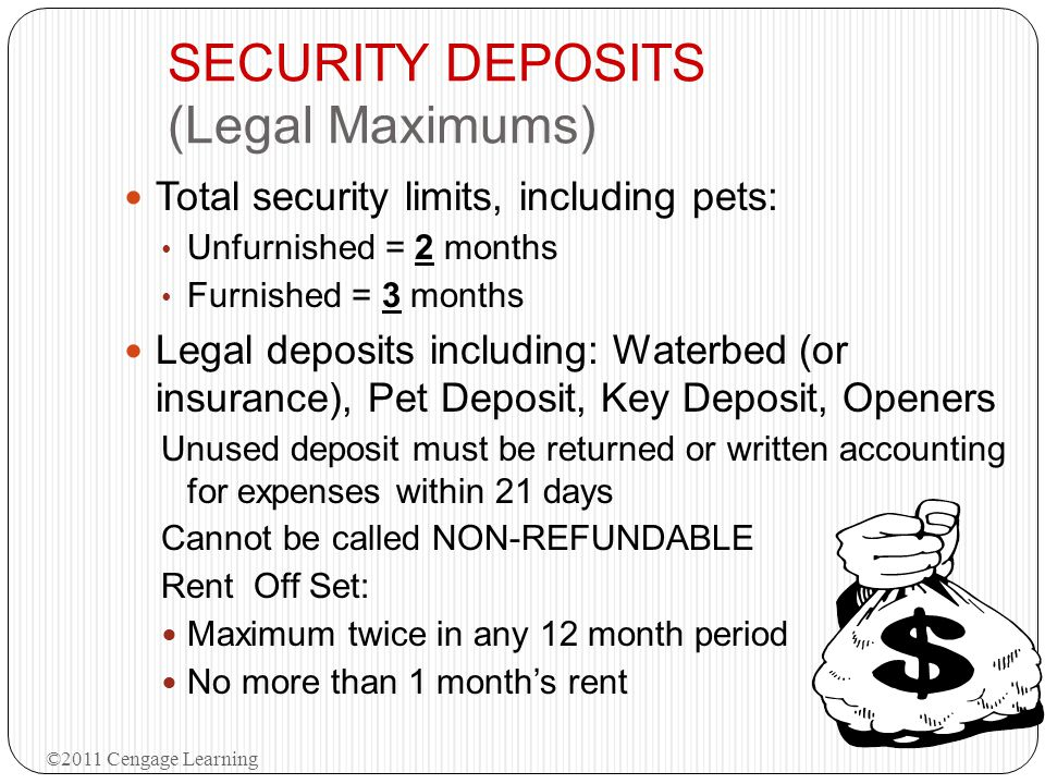 SECURITY DEPOSITS (Legal Maximums)