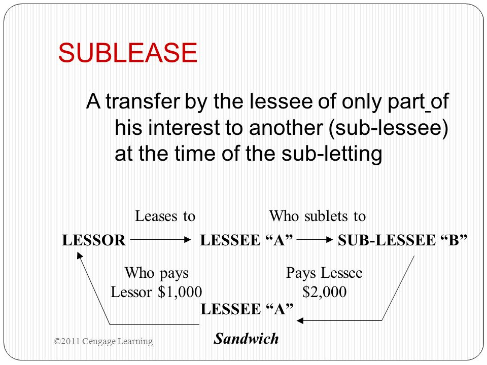 SUBLEASE A transfer by the lessee of only part of his interest to another (sub-lessee) at the time of the sub-letting.
