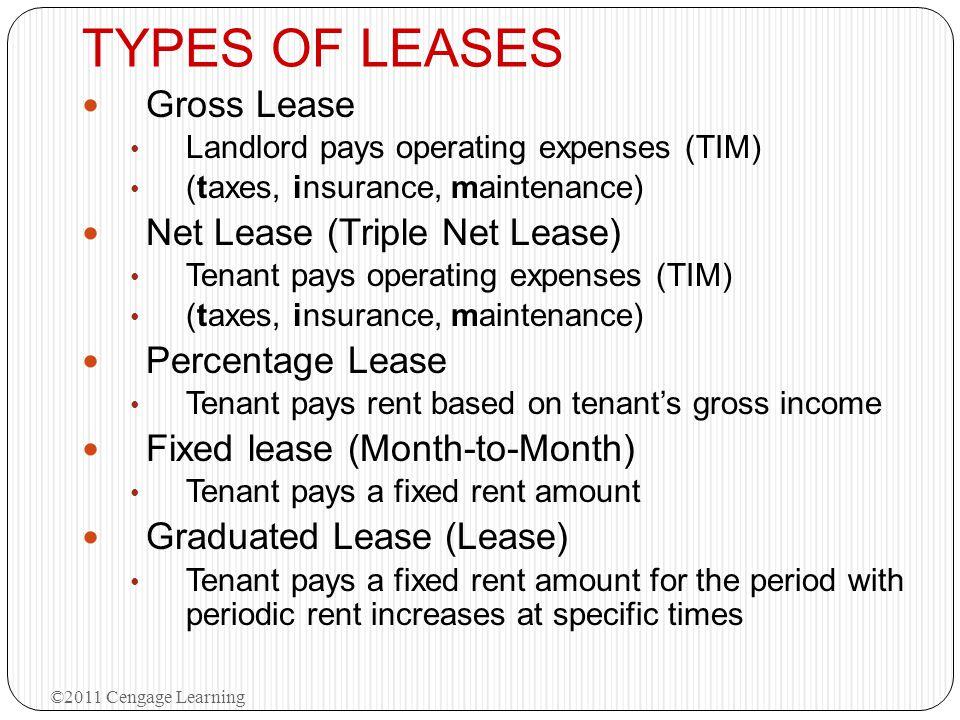 TYPES OF LEASES Gross Lease Net Lease (Triple Net Lease)