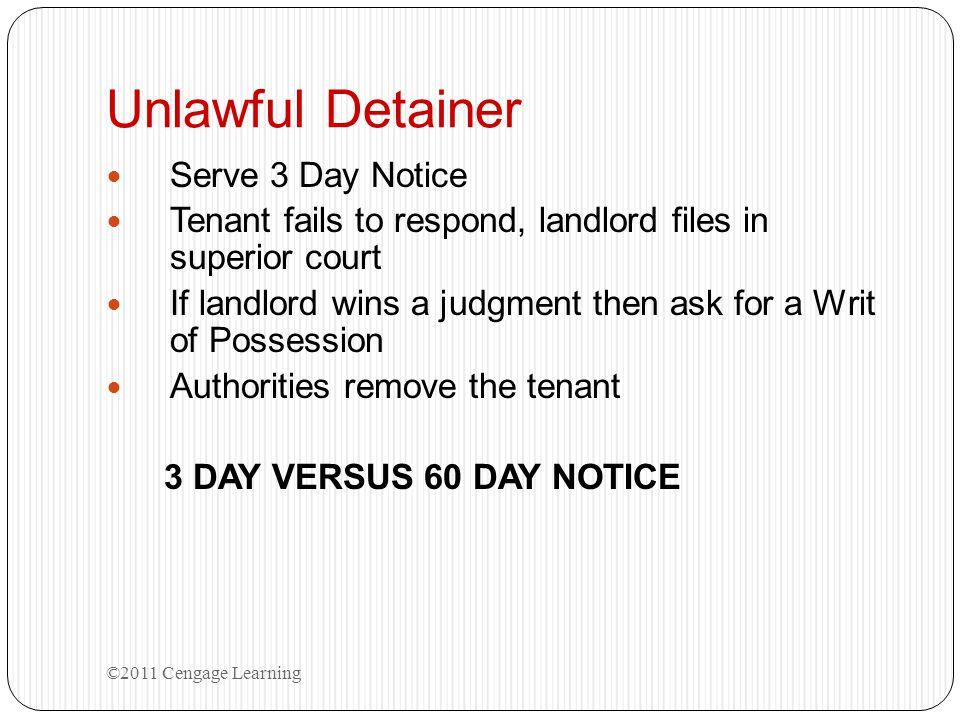 Unlawful Detainer Serve 3 Day Notice