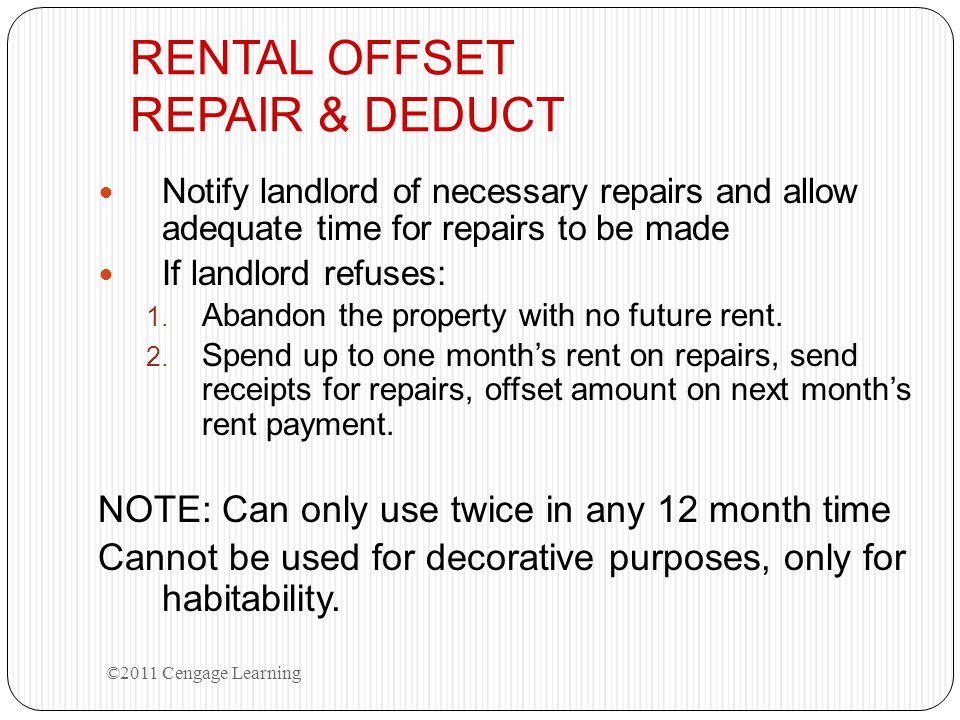 RENTAL OFFSET REPAIR & DEDUCT