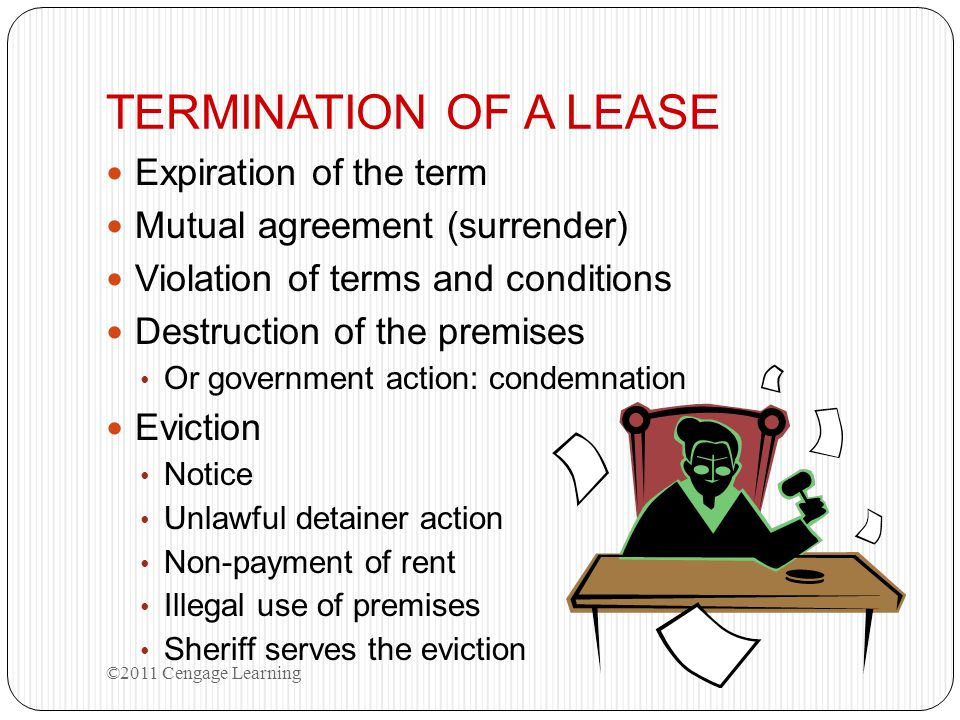 TERMINATION OF A LEASE Expiration of the term