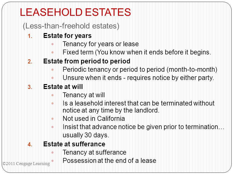 LEASEHOLD ESTATES (Less-than-freehold estates)