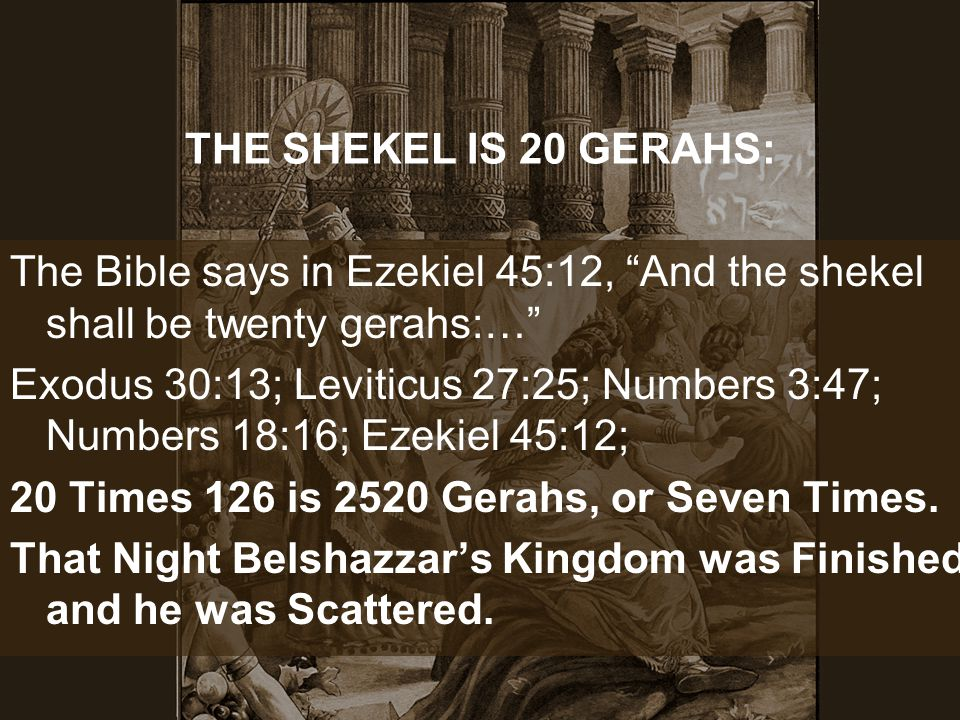 THE SHEKEL IS 20 GERAHS: The Bible says in Ezekiel 45:12, And the shekel shall be twenty gerahs:…