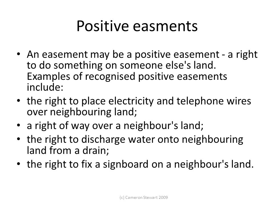 Positive easments