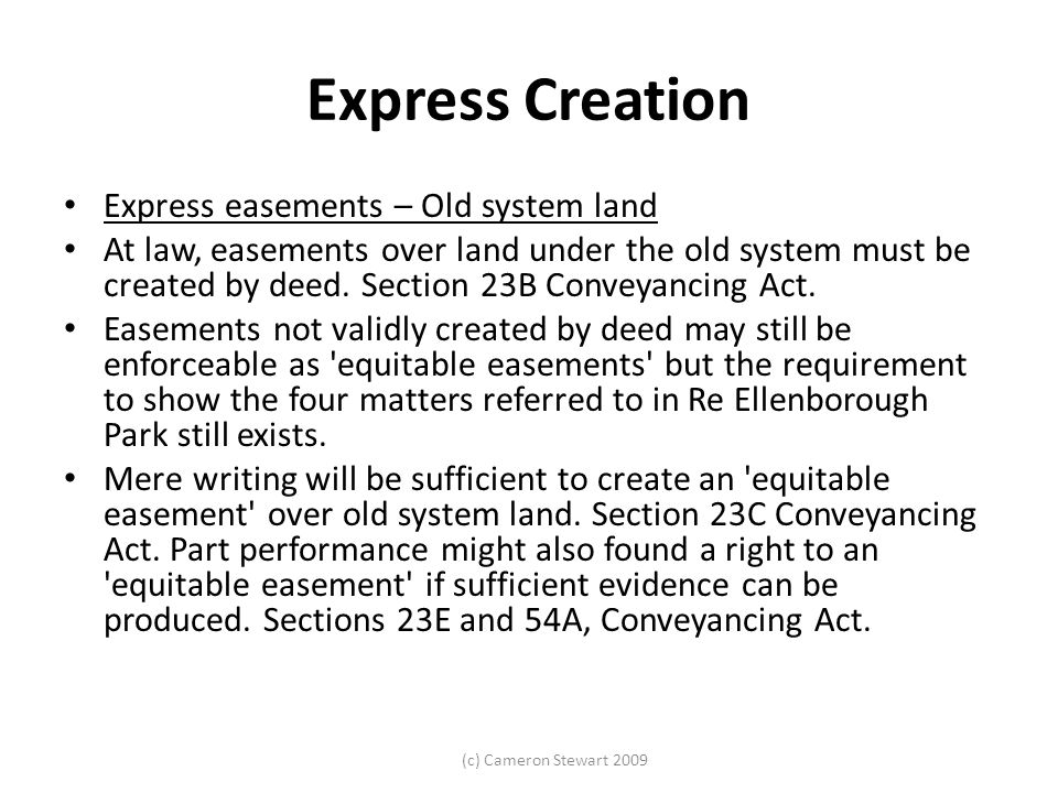 Express Creation Express easements – Old system land