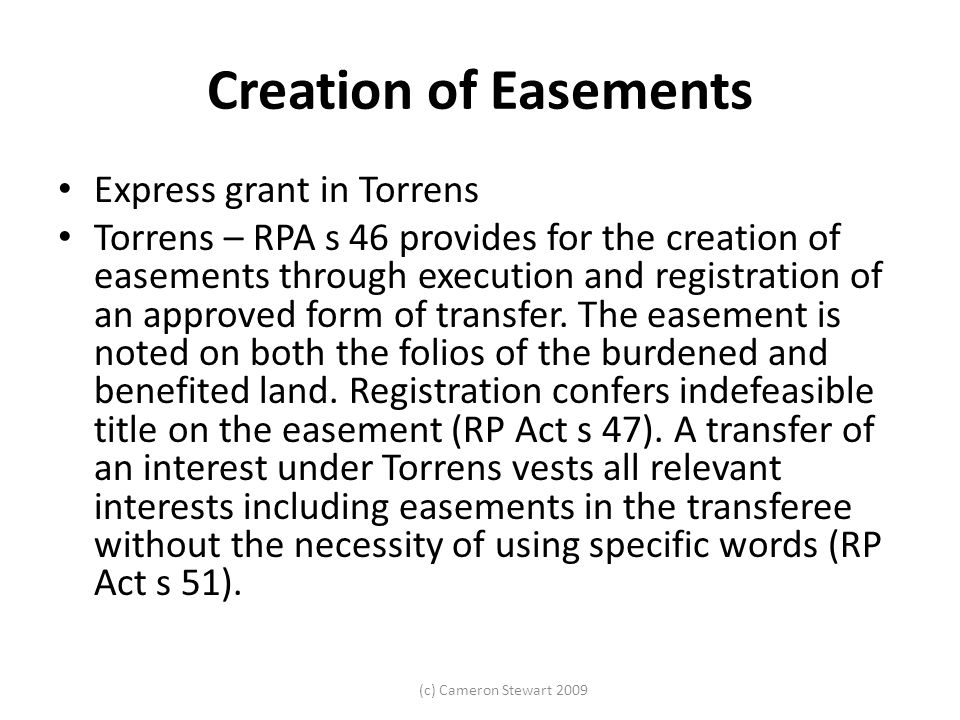 Creation of Easements Express grant in Torrens