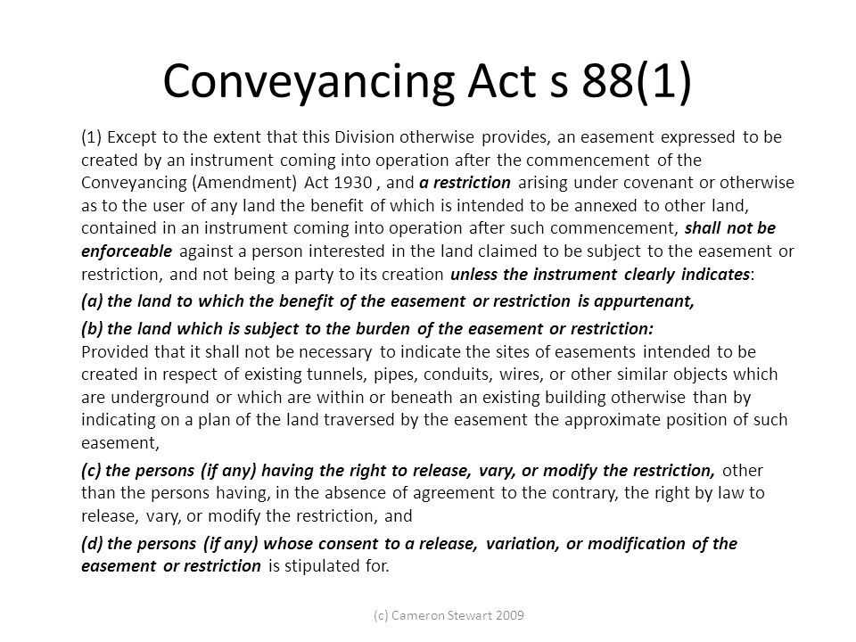 Conveyancing Act s 88(1)