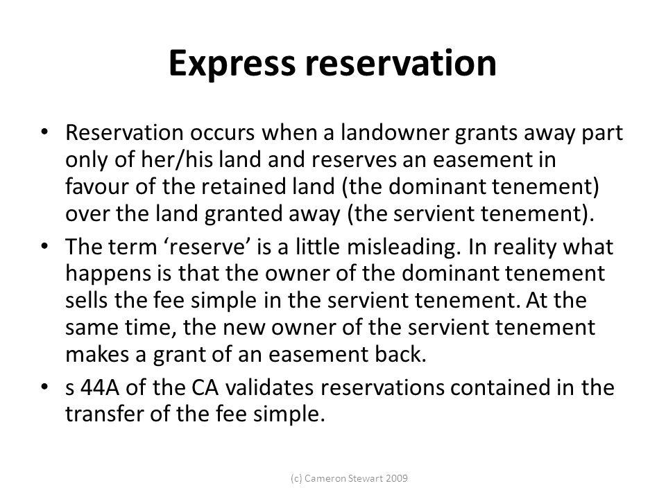 Express reservation