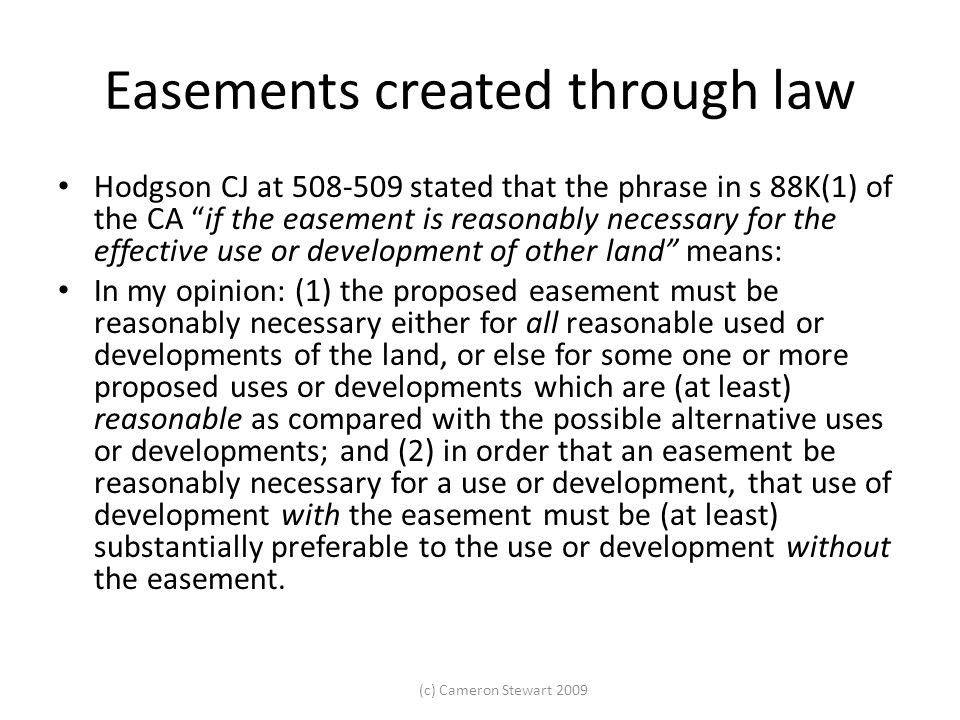 Easements created through law