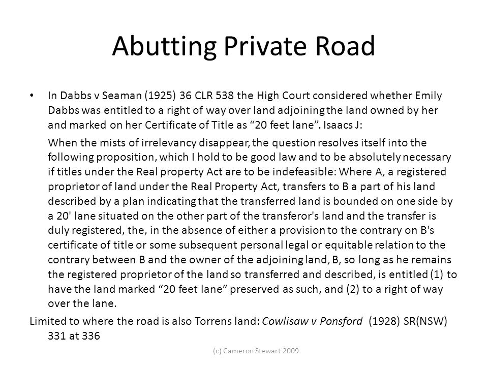 Abutting Private Road