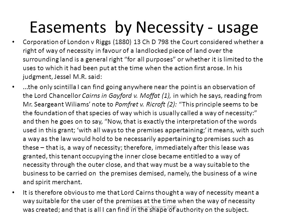 Easements by Necessity - usage