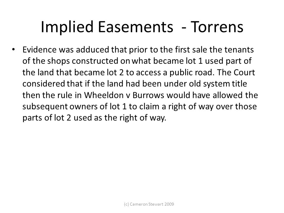 Implied Easements - Torrens