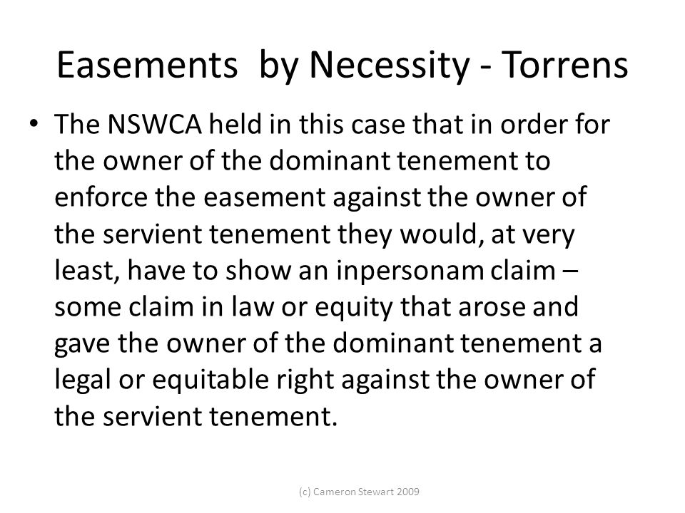 Easements by Necessity - Torrens