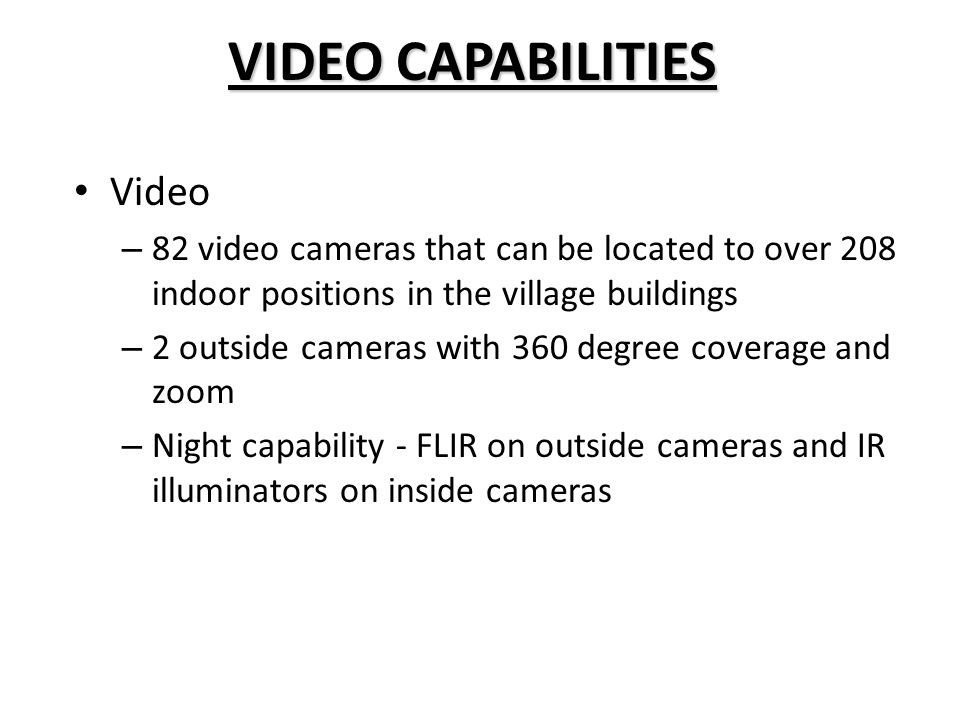 VIDEO CAPABILITIES Video
