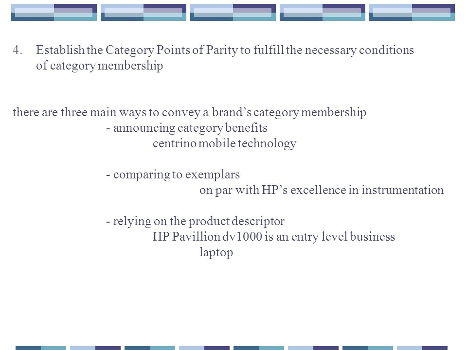 4. Establish the Category Points of Parity to fulfill the necessary conditions