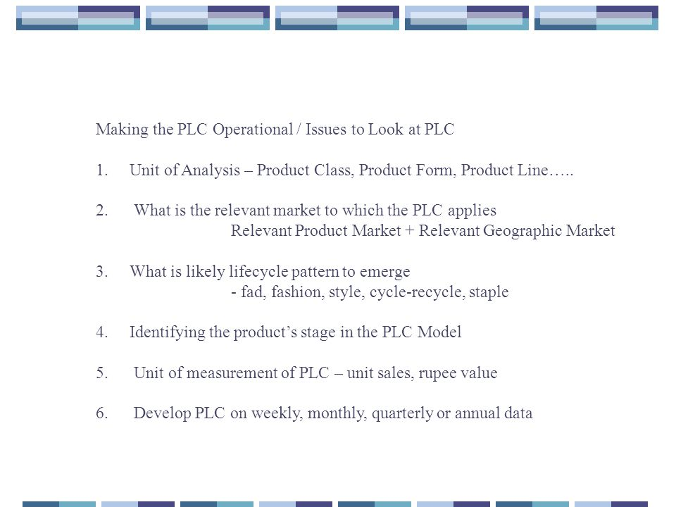 Making the PLC Operational / Issues to Look at PLC
