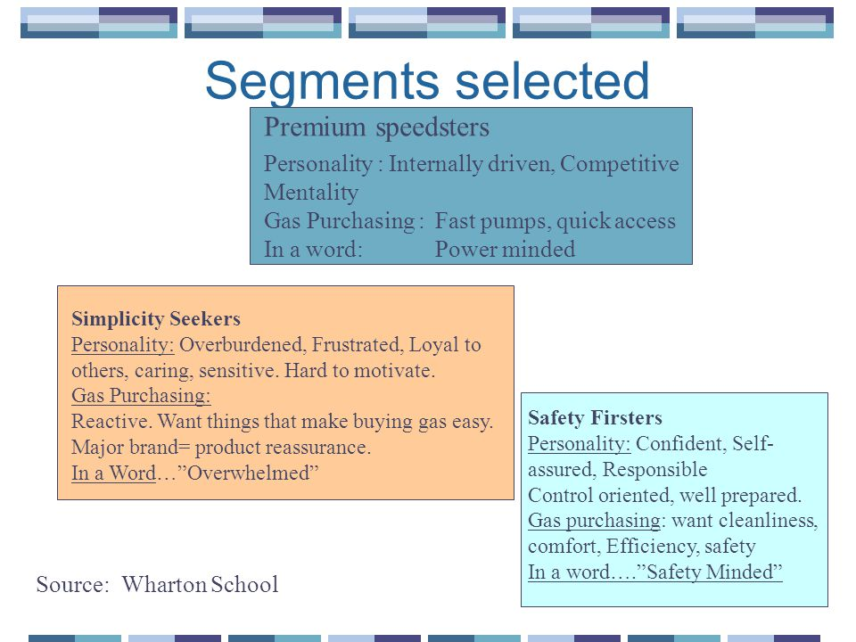 Segments selected Premium speedsters