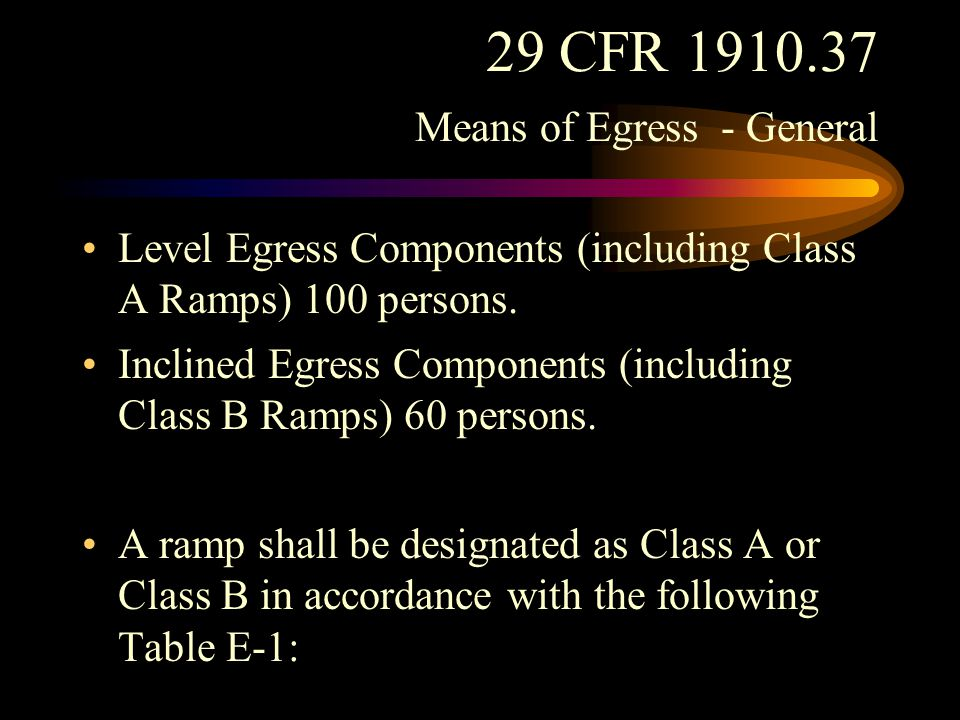 29 CFR 1910.37 Means of Egress - General